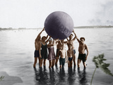 Swimmers with Inflatable Ball, C.1925 Photographic Print