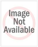 Green Monster Attacks Man; Island Girl Looks On Kunstdrucke von  Pop Ink - CSA Images