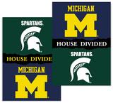 NCAA Michigan - Michigan State 2-Sided House Divided Rivalry Banner Bandera