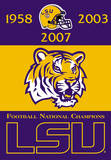NCAA Louisiana State Tigers 2-Sided Championship Years Banner with Pole Sleeve Flag