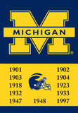 NCAA Michigan Wolverines 2-Sided Championship Years Banner with Pole Sleeve Wall Scroll