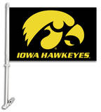 NCAA Iowa Hawkeyes Car Flag with Wall Bracket Flag