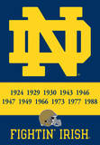 NCAA Notre Dame 2-Sided Championship Years Banner with Pole Sleeve Bandera