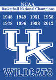 NCAA Kentucky Wildcats 2-Sided Championship Years Banner with Pole Sleeve Flag