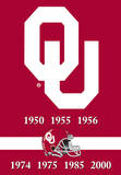 NCAA Oklahoma Sooners 2-Sided Championship Years Banner with Pole Sleeve Flag