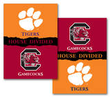 NCAA Clemson - South Carolina 2-Sided House Divided Rivalry Banner Flag