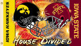 NCAA Iowa - Iowa State 2-Sided House Divided Rivarly Helmet Flag with Grommets Novelty