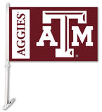 NCAA Texas A&M Aggies Car Flag with Wall Bracket Flag