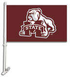 NCAA Mississippi State Bulldogs Car Flag with Wall Bracket Novelty