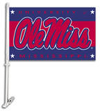 NCAA Mississippi Rebels Car Flag with Wall Bracket Novelty