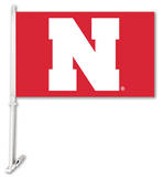NCAA Nebraska Cornhuskers Car Flag with Wall Bracket Novelty