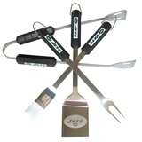 NFL New York Jets Four Piece Stainless Steel BBQ Set BBQ Grill Set