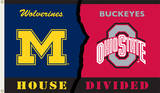 NCAA Michigan - Ohio State Rivarly House Divided Flag with Grommets Novelty