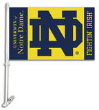 NCAA Notre Dame Car Flag with Wall Bracket Flag