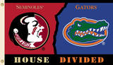 NCAA Florida - Florida State Rivarly House Divided Flag with Grommets Flag