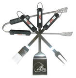 NFL Cleveland Browns Four Piece Stainless Steel BBQ Set BBQ Grill Set