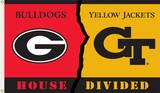 NCAA Georgia - Georgia Tech Rivarly House Divided Flag with Grommets Flag
