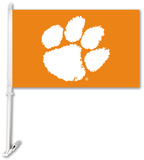 NCAA Clemson Tigers Car Flag with Wall Bracket Novelty