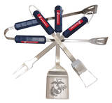 U.S. Marine Corps Four Piece Stainless Steel BBQ Set BBQ Grill Set