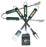 NFL Green Bay Packers Four Piece Stainless Steel BBQ Set BBQ Grill Set