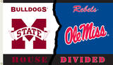 NCAA Miss State - Ole Miss Rivarly House Divided Flag with Grommets Novelty