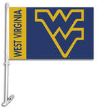 NCAA West Virginia Mountaineers Car Flag with Wall Bracket Novelty