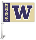 NCAA Washington Huskies Car Flag with Wall Bracket Flag