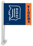MLB Detroit Tigers Car Flag with Wall Bracket Novelty