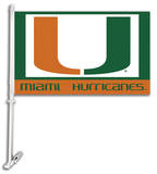 NCAA Miami Hurricanes Car Flag with Wall Bracket Flag