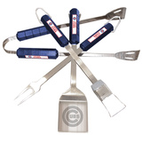 MLB Chicago Cubs Four Piece Stainless Steel BBQ Set BBQ Grill Set