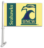 NCAA UNC Wilmington Car Flag with Wall Bracket Flag