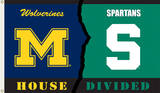 NCAA Michigan - Michigan State Rivarly House Divided Flag with Grommets Novelty
