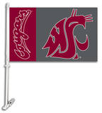 NCAA Washington State Cougars Car Flag with Wall Bracket Flag