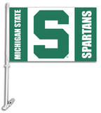 NCAA Michigan State Spartans Car Flag with Wall Bracket Flag