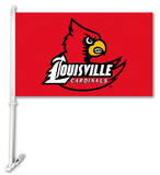 NCAA Louisville Cardinals Car Flag with Wall Bracket Flag