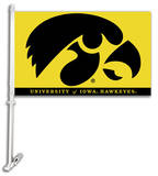 NCAA Iowa Hawkeyes Car Flag with Wall Bracket Novelty