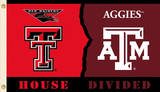 NCAA Texas Tech - Texas A & M Rivarly House Divided Flag with Grommets Flag