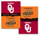 NCAA Oklahoma - Oklahoma State 2-Sided House Divided Rivalry Banner Flag