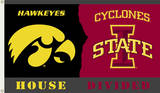 NCAA Iowa - Iowa State Rivarly House Divided Flag with Grommets Novelty