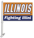NCAA Illinois Fighting Illini Car Flag with Wall Bracket Flag