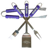 NFL Baltimore Ravens Four Piece Stainless Steel BBQ Set BBQ Grill Set