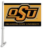 NCAA Oklahoma State Cowboys Car Flag with Wall Bracket Flag