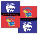 NCAA Kansas - Kansas State 2-Sided House Divided Rivalry Banner Flag