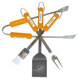 NFL Miami Dolphins Four Piece Stainless Steel BBQ Set BBQ Grill Set