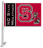 NCAA North Carolina State Wolfpack Car Flag with Wall Bracket Flag