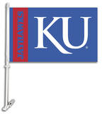 NCAA Kansas Jayhawks Car Flag with Wall Bracket Novelty