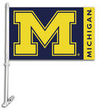 NCAA Michigan Wolverines Car Flag with Wall Bracket Flag