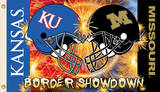NCAA Kansas - Missouri 2-Sided House Divided Rivarly Helmet Flag with Grommets Novelty