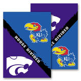 NCAA Kansas - Kansas St. 2-Sided House Divided Rivalry Garden Flag Novelty