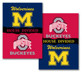 NCAA Michigan - Ohio State 2-Sided House Divided Rivalry Banner Flag